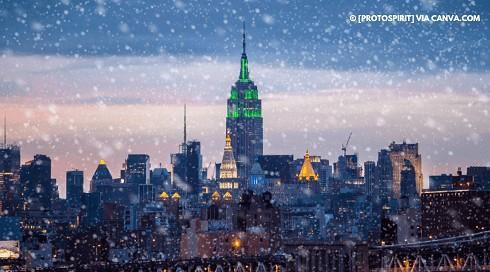 Lugares nos Estados Unidos que neva